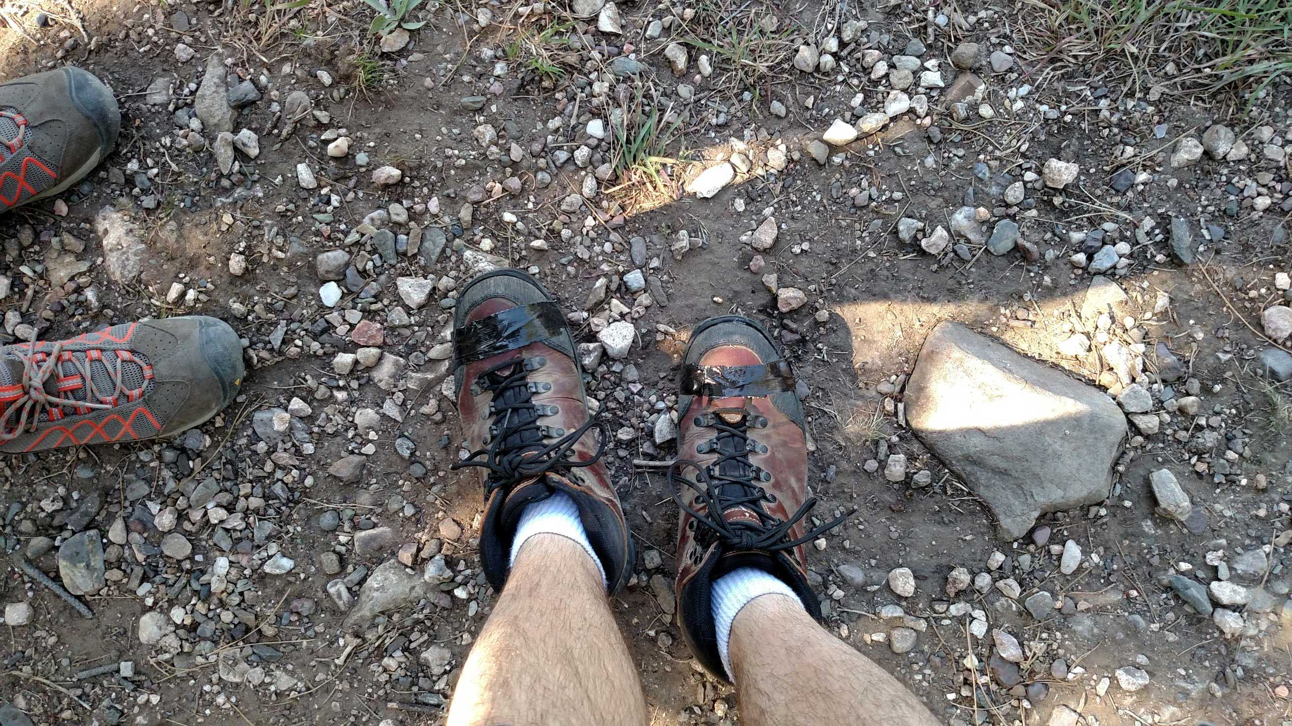 Macgyver style hiking boots.