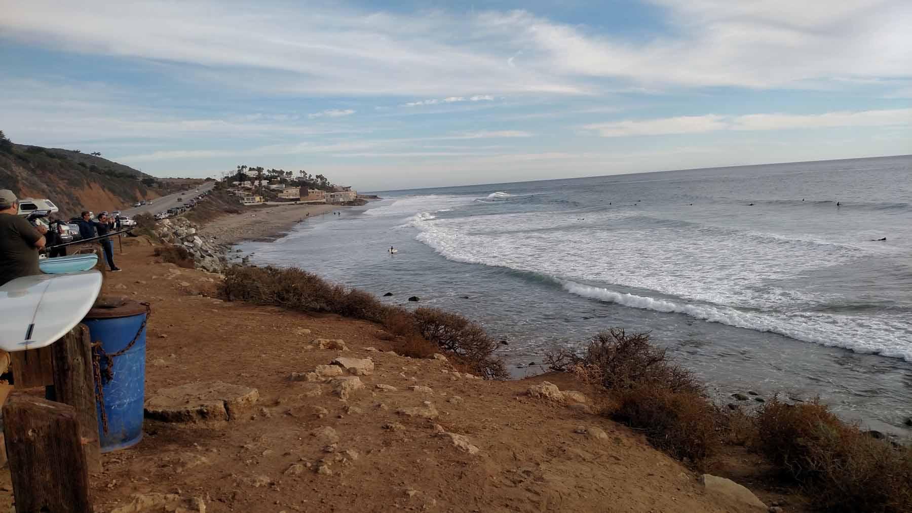 Passing by the surfers at El Matador.