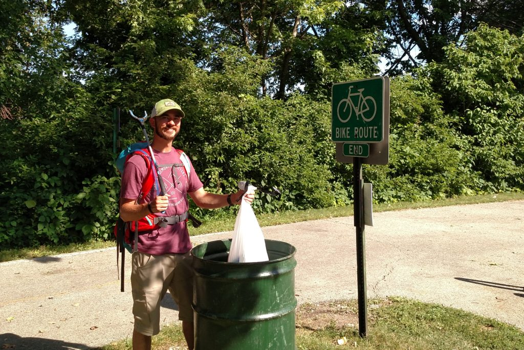 The final bag of trash on the Great River Trail Trash Trek.