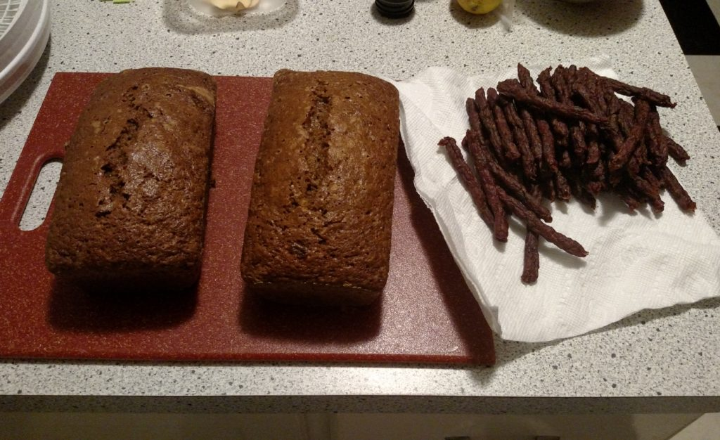 Zucchini bread and bison jerky