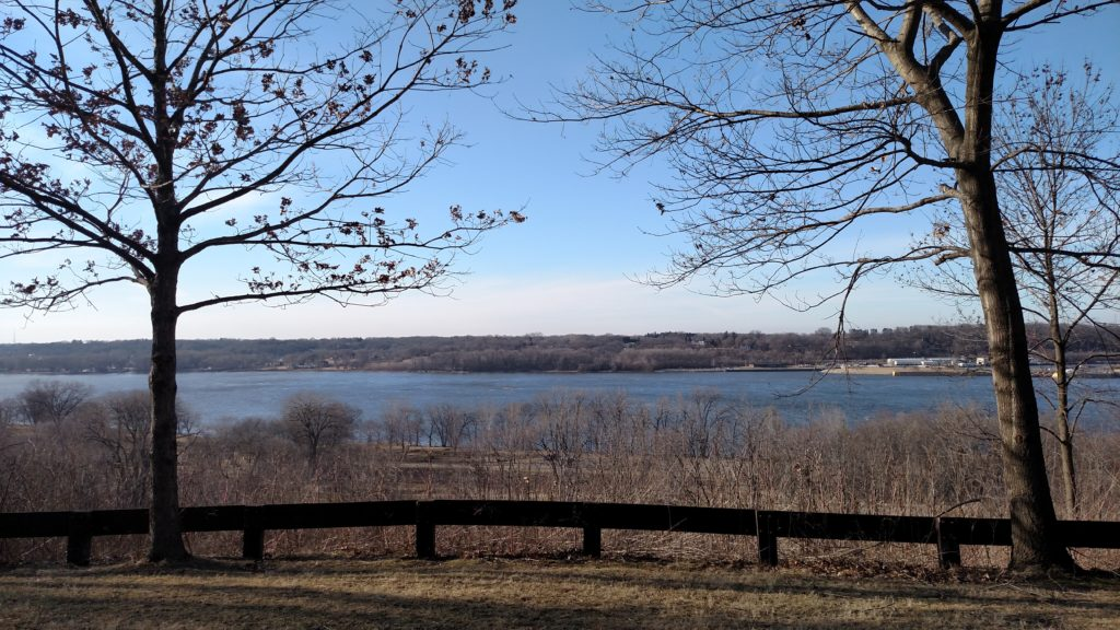 The Mississippi River as seen from the hiking trails at Illiniwek Forest Preserve.