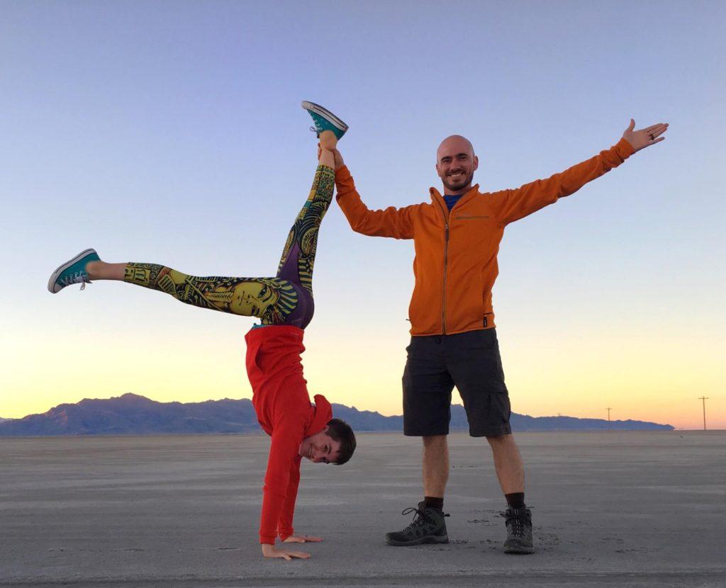 Yoga selfie on the Salt Flats.