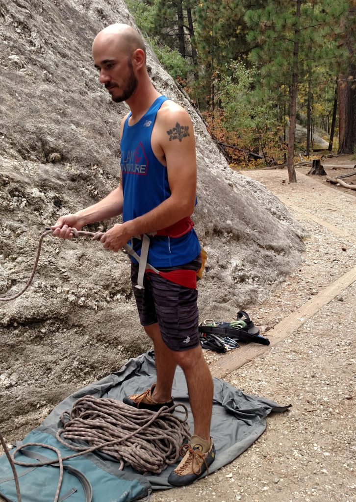 Tying the figure 8 onto my climbing harness