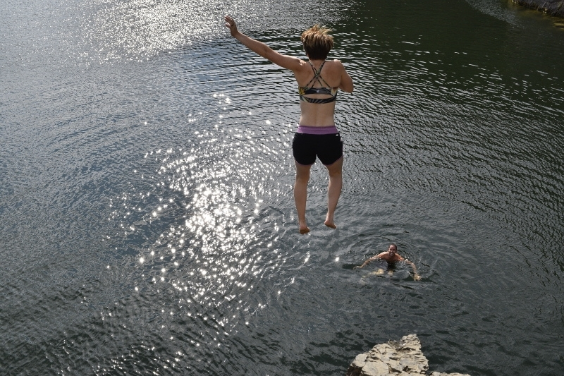 Jumping into Sheridan Lake