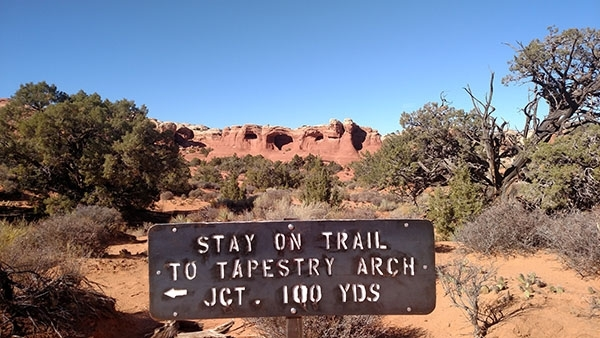 Tapestry Arch as seen from the trail.