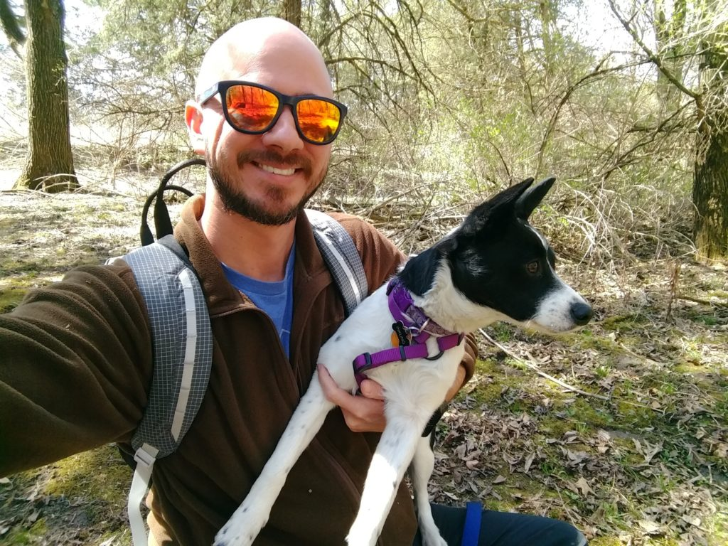 Inkling and me, on the trail. One mishap after another