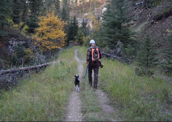 Inkling and I hiking on Iron Creek Trail
