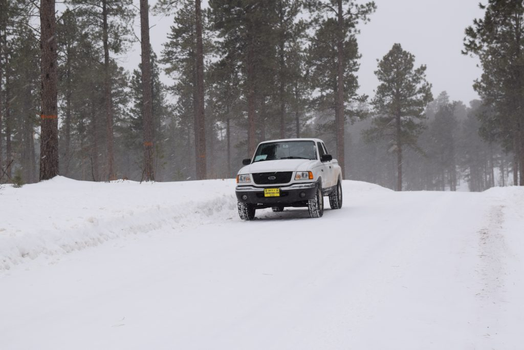 Buy an old truck and driving in the snow becomes fun, like this