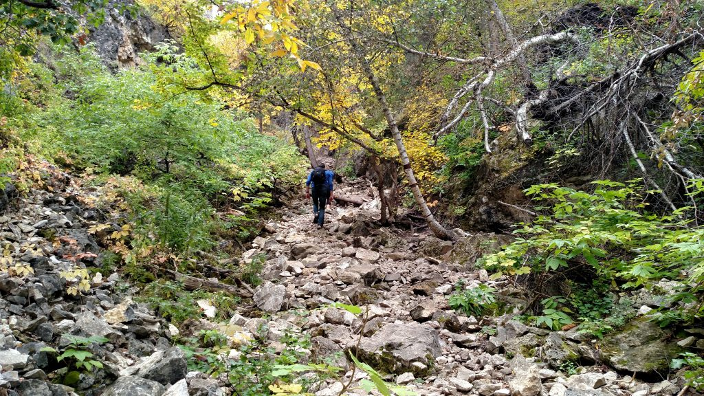 The steep trail to community caves