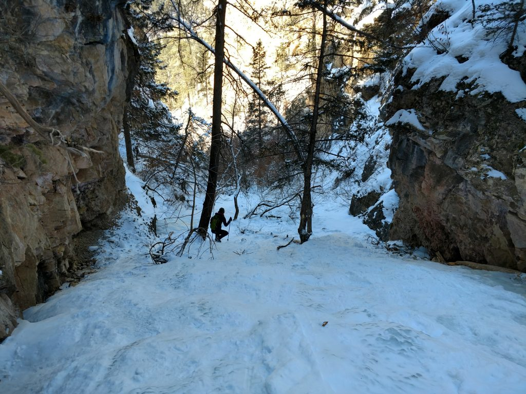 Heading back down the canyon