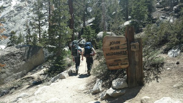 The Mount Whitney Trail crosses into the John Muir Wilderness