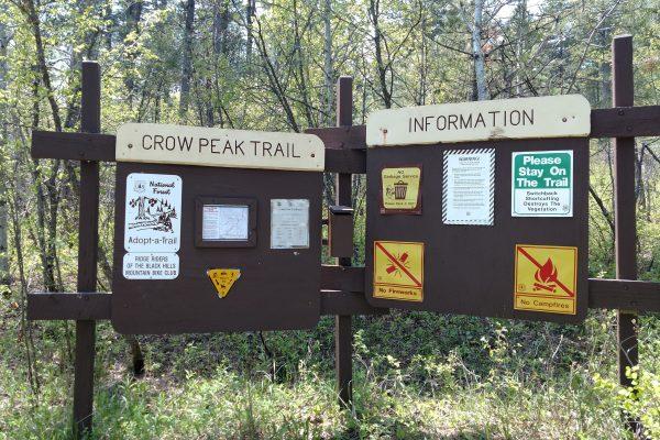 The Crow Peak Trail sign