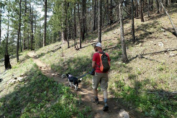 Wade and Inkling hiking Crow Peak Trail