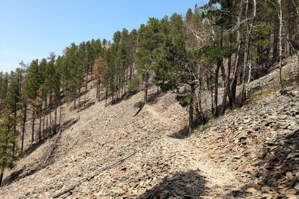 A rocky spot on the trail
