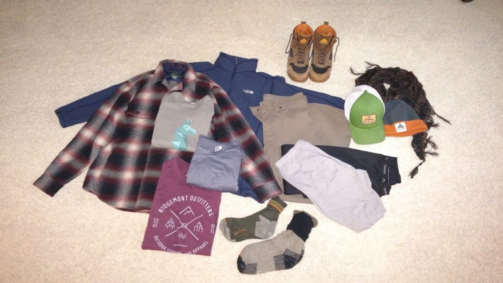 All the clothing I wore or carried