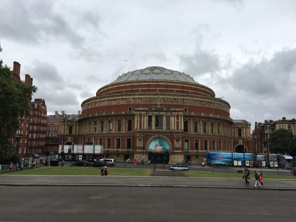 Royal Albert Hall, visible as seen from the south side of Kensington Gardens.