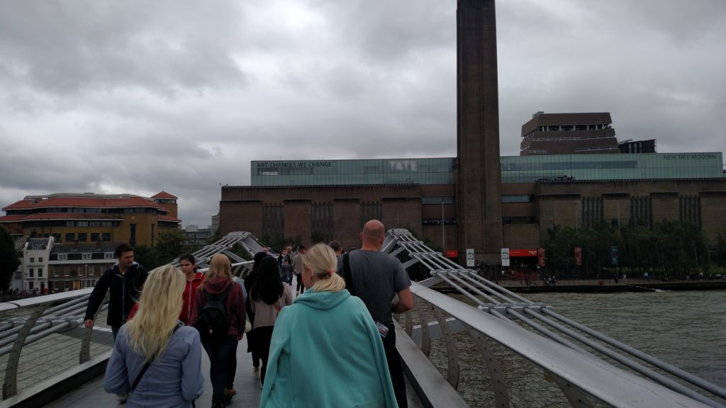 Crossing the Millennium Bridge to get to the Tate Modern, walking London