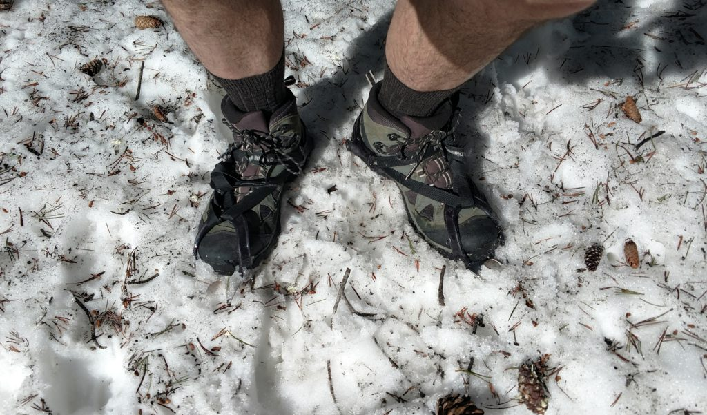 Crampons on Mount Whitney Trail.