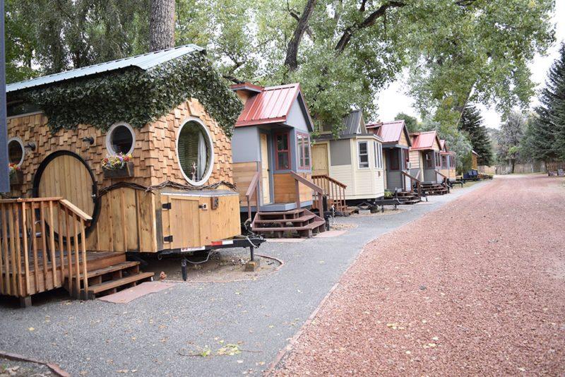 A row of tiny houses at WeeCasa.