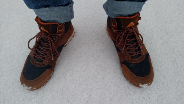 Monty Hi boots in the snow