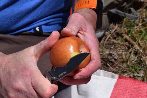 The Gerber Paraframe cutting an apple
