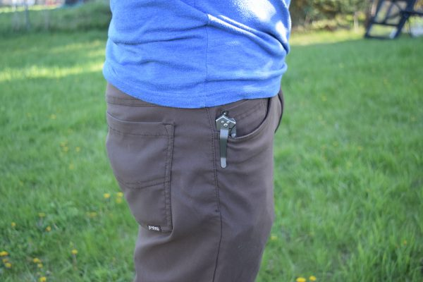 The knife's clip keeps it secure in my pocket
