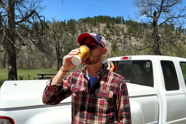 Drinking shitty coffee at the trailhead