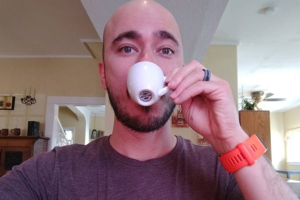 Wade drinking espresso