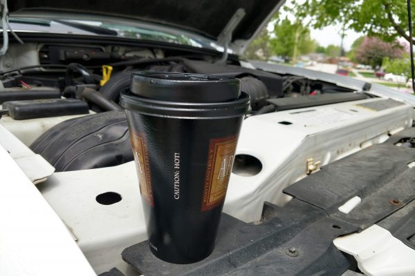 Gas station coffee is perfect for working on the truck