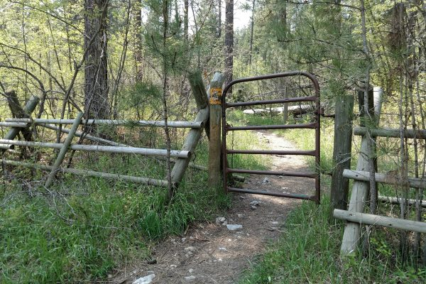 Go through this gate to begin hiking Crow Peak Trail