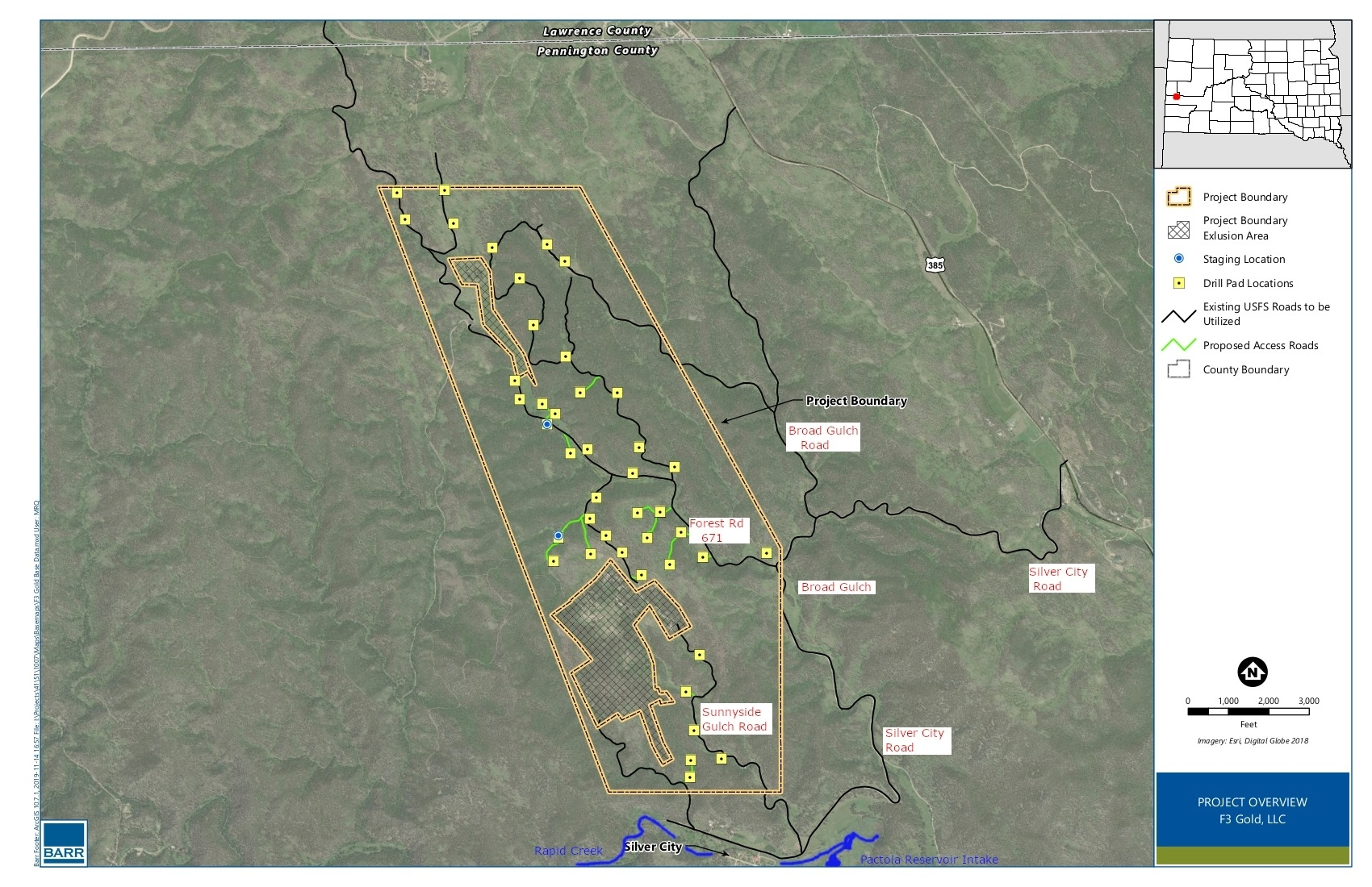 The Jenny Gulch Exploration Drilling project Map