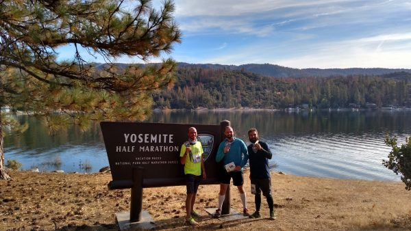 Me and two friends after finishing the Yosemite National Park Half Marathon