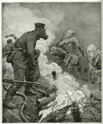 Illustration of gas attack in WWI.