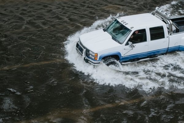Truck on flooded road