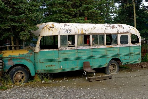 """Replica of the """"Into the Wild"""" bus used for filming the movie"""